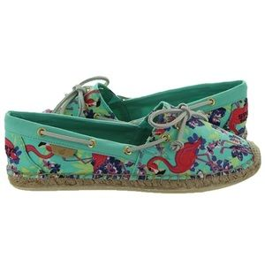 NWT Sperry Katama turquoise floral loafers